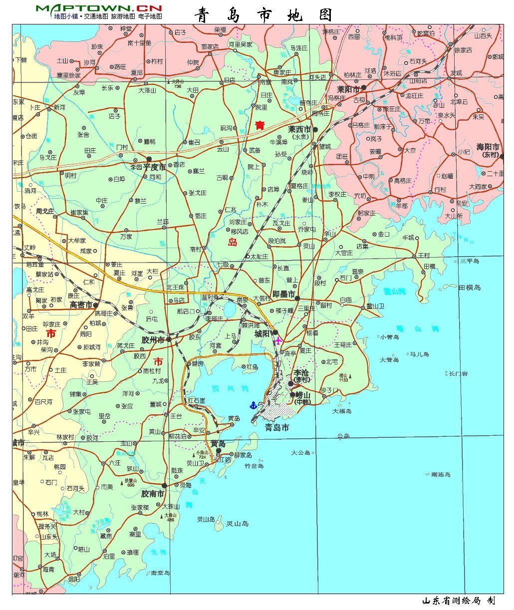 青岛为海滨丘陵城市,地势东高西低,南北两侧隆起,中间低凹,其中山地约
