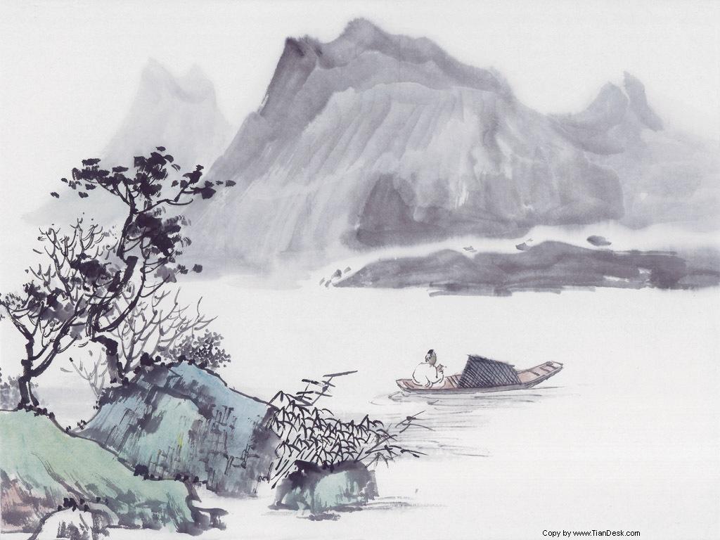 江上孤舟,渔翁披蓑戴笠;独自垂钓,不怕冰雪侵袭.