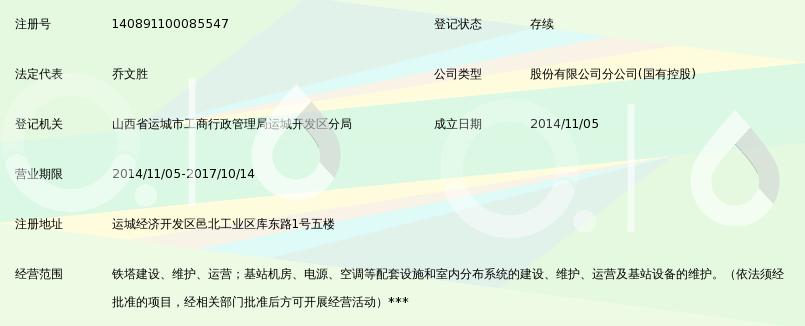 中国铁塔股份有限公司运城市分公司