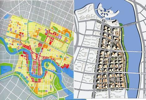 天津滨海新区规划图(左侧)和响螺湾商务区规划图(右侧)