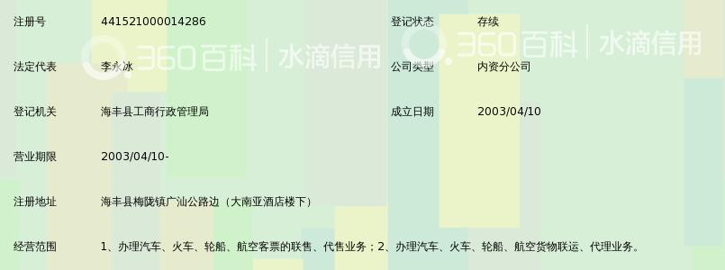 海丰县润达工贸实业发展有限公司南湖客运站梅