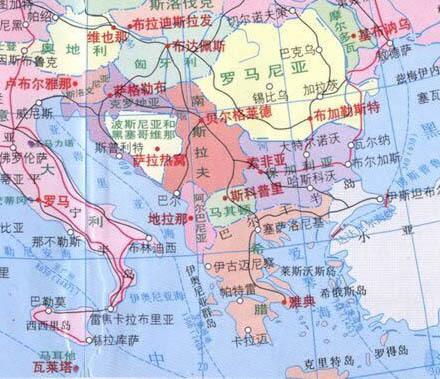 巴尔干半岛地形图